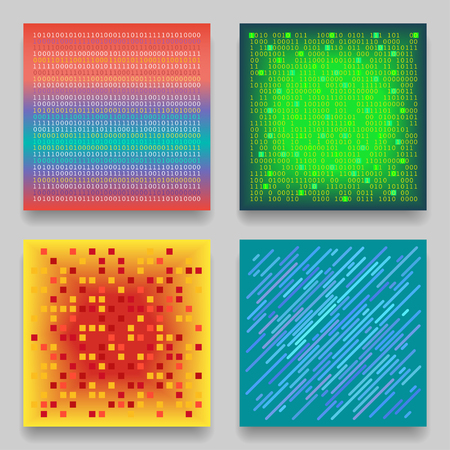 Vector set of four technological geometric templates for cards. Colorful patterns on the theme of coding, matrix, data transmission. Ilustração