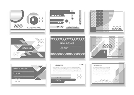 Set of nine business cards. Modern lines and geometric shapes, black and white version.