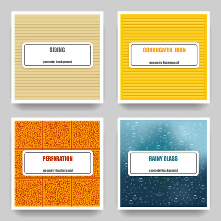 Vector set of four material geometric textures: siding, corrugated iron, perforation, rainy glass. Card Templates.
