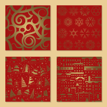 Set of New Year's luxury seamless patterns. Spiral ornament, Golden snowflakes, Christmas tree, old houses on red background. The concept for packaging paper, wallpaper.