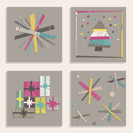 Vector set of templates for square New Year Cards. Snowflakes, Christmas tree, gifts cut out from colored newsprint paper on a gray background.