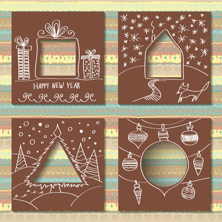 Vector set of four templates for paper Christmas cards. Cardboard squares with holes in the form of figures and manual white festive drawing in foreground. Ilustração