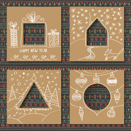 Vector set of four templates for paper christmas cards cardboard vector vector set of four templates for paper christmas cards cardboard squares with holes in the form of figures and manual white festive drawing in maxwellsz