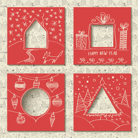 Vector set of four templates for paper Christmas cards. Red squares with holes in the form of figures and manual white festive drawing in foreground. Seamless thin line pattern with firs on background