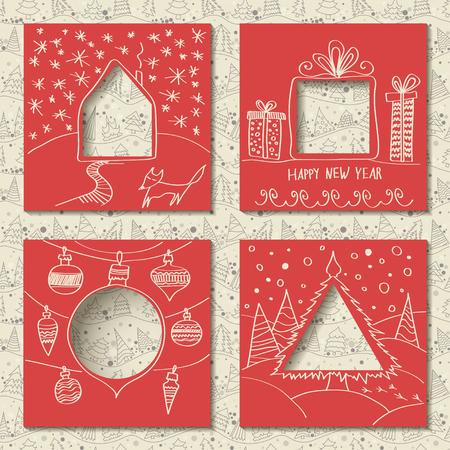 Ensemble de vecteur de quatre modèles de cartes de Noël en papier. Carrés rouges avec des trous en forme de figures et dessin festif blanc manuel au premier plan. Motif de lignes fines sans couture avec sapins sur fond Vecteurs