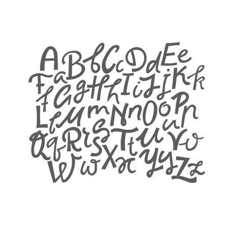Vector set of uppercase and lowercase handwritten letters. Illustration