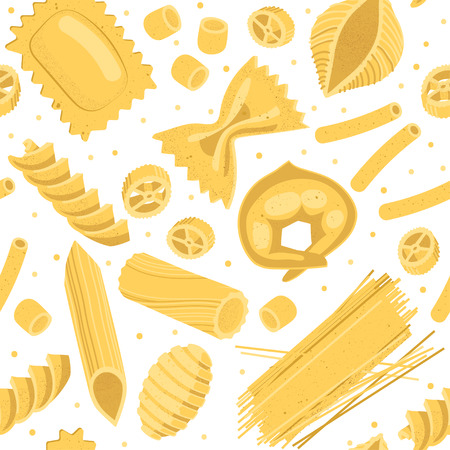 Vector seamless pattern of realistic forms of pasta on a white background.