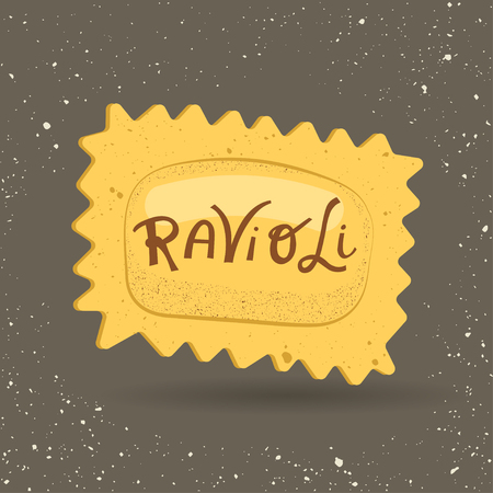 Vector illustration of pasta. Ravioli with lettering on a gray background. For trendy packaging, advertising, menu design. Illustration