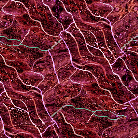 Seamless grunge texture with traces of red drops and stains on a black background. Motives of biology, circulatory system, bloodstream, cosmic structure.