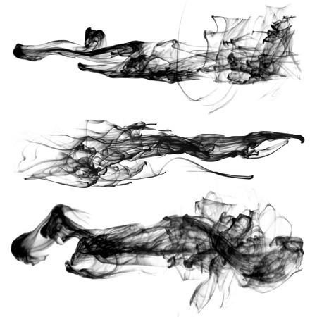 A set of shapeless black smoke jets for design.