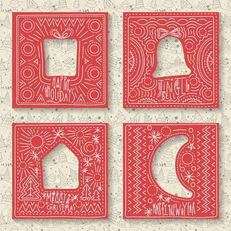 Vector set of four templates for paper Christmas cards. Red squares with holes and hand-drawn festive drawing in foreground. White seamless pattern on background. Illustration