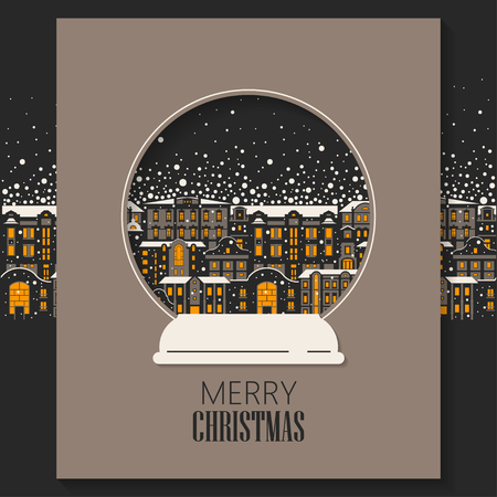 Vector concept of Christmas greeting card cut out of paper. Ancient night  city during a snowfall inside the snow globe.