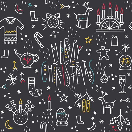 Vector monoline seamless pattern of cute Christmas symbols with trendy lettering on a black background.