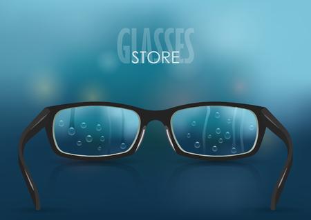 Ilustración de vector sobre el tema de la miopía, visión. Gafas realistas con estilo negro con primer plano de gotas sobre un fondo de malla de degradado de lluvia azul borrosa. Para cartel, adv, plantilla web.