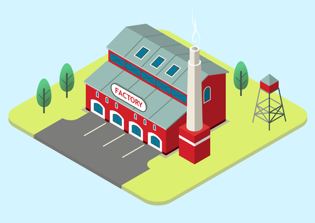 Vector isometric illustration of an old red factory. Illustration