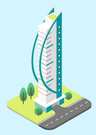 Vector isometric illustration of a modern skyscraper.