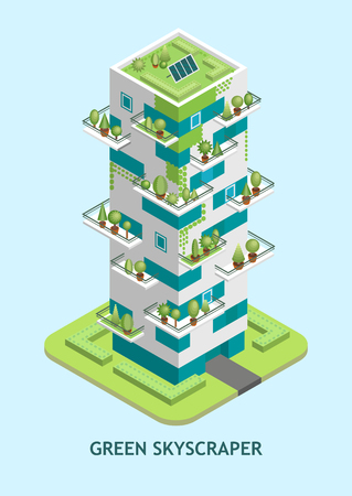 Vector isometric illustration of modern skyscraper with a green roof with solar panels, trees growing on balconies, vertical landscaping.