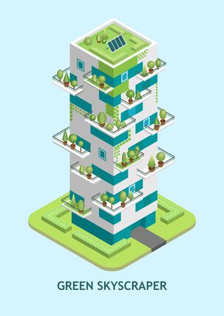 Vector isometrische illustratie van moderne wolkenkrabber met een groen dak met zonnepanelen, bomen die op balkons groeien, verticale landschapsarchitectuur.