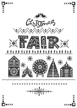 """Wektor napis """"Jarmark bożonarodzeniowy"""". Czarne litery w ludowe wzory i bajkowe zimowe miasto. Na ulotki, plakaty pionowe, zaproszenia."""