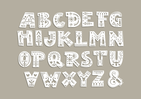 Vector capital alphabet. Cut out letters with scandinavian patterns for a laser cutting template of paper and vinyl. For monograms, initials. Banco de Imagens - 110856829