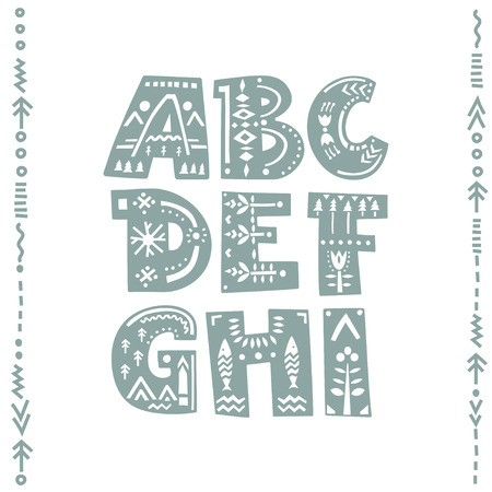 Vector set of bold letters decorated with nordic folk ornaments. Letters A, B, C, D, E, F, G, H, I.  Display font.