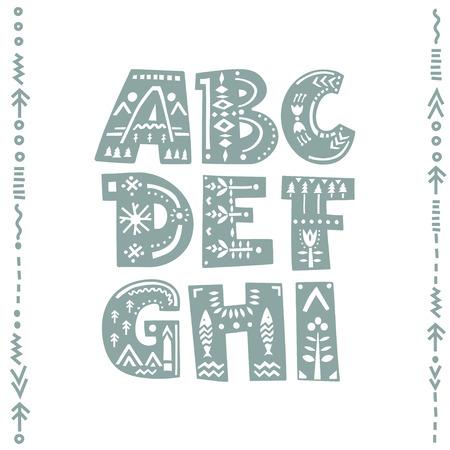 Vector conjunto de letras en negrita decoradas con adornos folclóricos nórdicos. Letras A, B, C, D, E, F, G, H, I. Fuente de la pantalla.