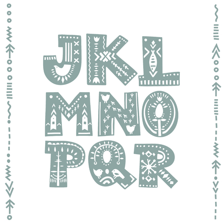 Vector set of bold letters decorated with nordic folk ornaments. Letters J, K, L, M, N, O, P, Q, R. Display font. Banque d'images - 110856850