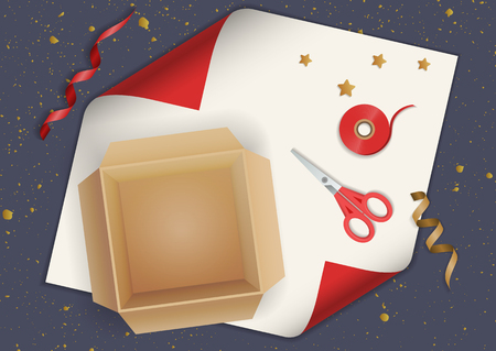 Vector realistic illustration of festive gift wrapping. Cardboard box, scissors, ribbon on red  paper. Top view.