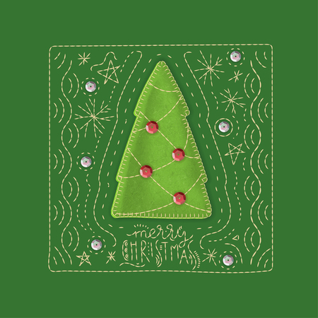 Vector concept of holiday greeting card. Green background with embroidered lettering Stock Illustratie