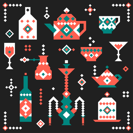 A collection of icons of pixels for the cafe in the oriental style.