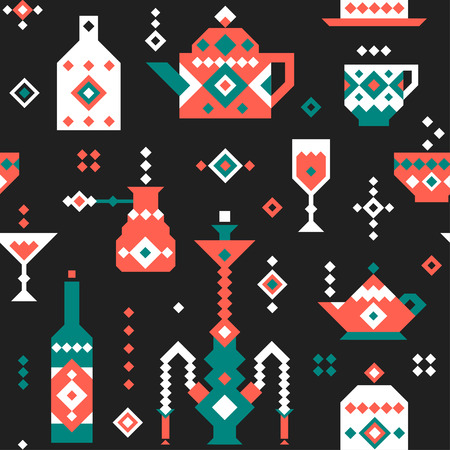 Vector pixel seamless pattern for a cafe.