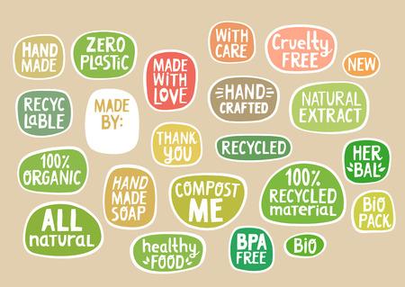 Ensemble d'autocollants avec lettrage fait main pour emballage bio, production artisanale.