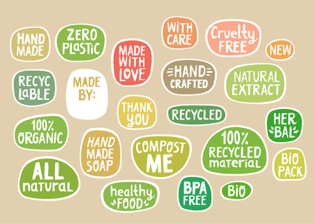 Set of stickers with handmade lettering for bio packaging, craft production. Illustration