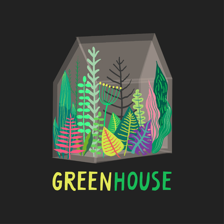 Vector hand-drawn illustation of glass greenhouse with various plants inside on a black background. Stock Illustratie