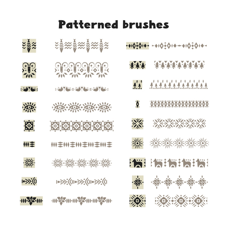 Collection of patterned brushes, decorated with scandinavian folk ornaments, seamless on both sides.  イラスト・ベクター素材