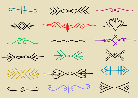 Vector set of hand-drawn linear colorful dividers, borders in vintage style.