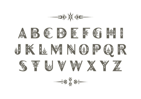 Vector decorative alphabet. Sans Serif capital letters decorated with vintage flourishes. For initials, monograms, wedding design. Illustration