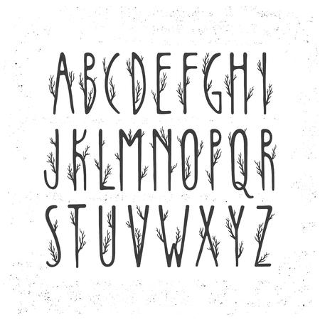 Alphabet de vecteur d'automne. Lettres majuscules décorées de branches d'arbres. Vecteurs