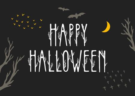 Vector hand-drawn poster Happy Halloween.