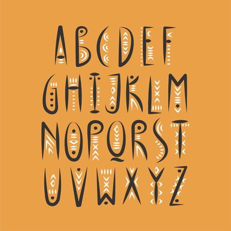 Vector trendy alphabet in pagan style.