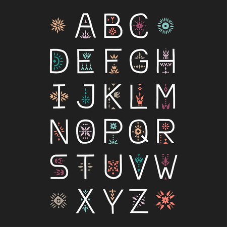 Vector display alphabet. Capital letters decorated with color flowal patterns on a black background. Illustration