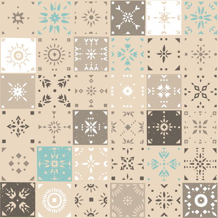 Vector seamless pattern of square mosaic tiles with patterns. Beige, white, blue palette. Stock Illustratie