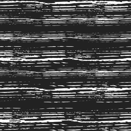 Vector grunge seamless texture of horizontal hand-drawn ink lines on a black background.