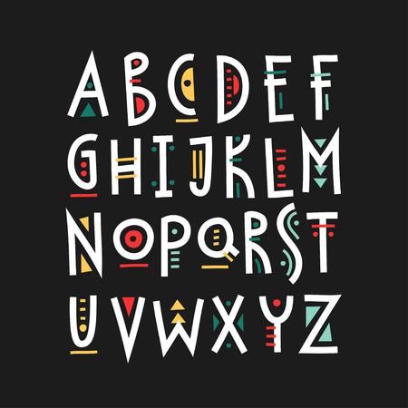 Vector trendy uppercase alphabet with colorful geometric decor.
