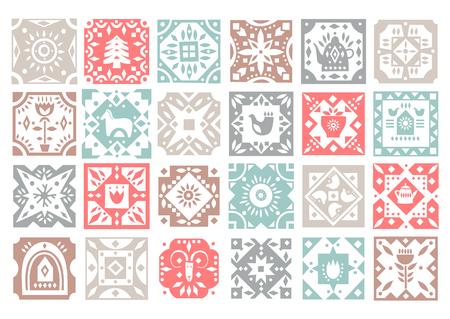 Ensemble de carreaux carrés monochromes originaux avec des motifs folkloriques rustiques. Pour les motifs de Noël, conception de cuisine.