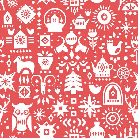 Vector Christmas seamless pattern. White festive symbols on a red background.