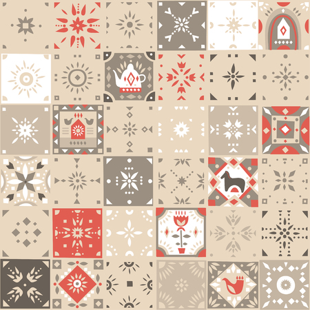 Vector seamless vintage pattern of square mosaic tiles with scandinavian ornaments. Beige, white, red palette.