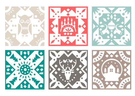Set of original monochrome square tiles with folk rustic patterns. For Christmas design.