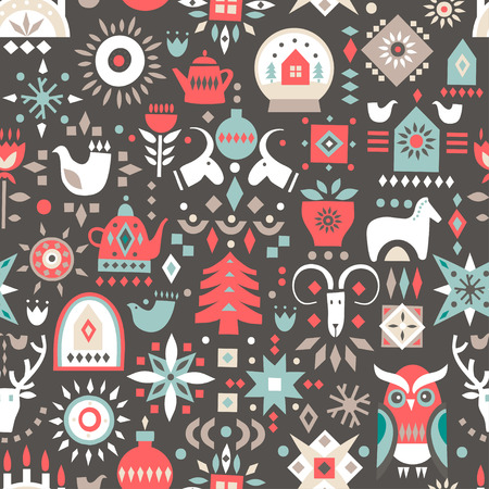 Vector Christmas seamless pattern. Colorful festive symbols on a black background. Illustration
