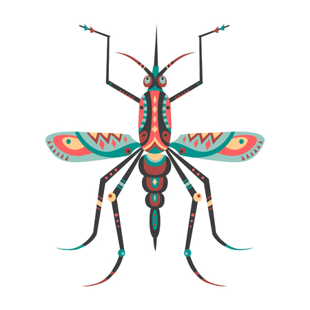 Vector illustration of mosquito decorated with ethnic patterns.